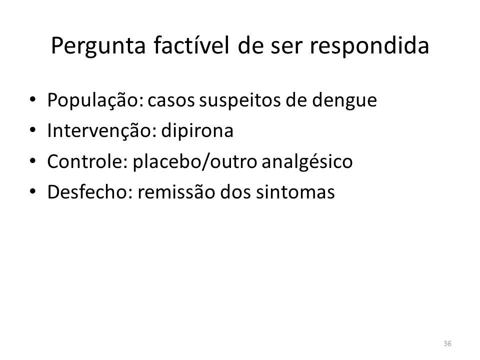 36 Pergunta factível de ser respondida População: casos suspeitos de dengue Intervenção: dipirona Controle: placebo/outro analgésico Desfecho: remissão dos sintomas