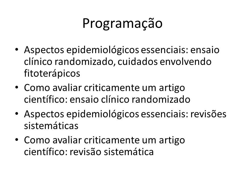 Programação Quatro estudos de caso: – 1: – 2: – 3: – 4: