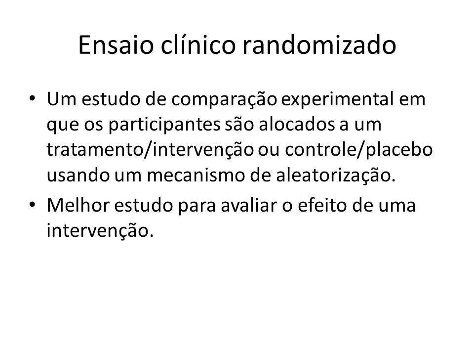 Ensaio clínico randomizado Um estudo de comparação experimental em que os participantes são alocados a um tratamento/intervenção ou controle/placebo usando um mecanismo de aleatorização.
