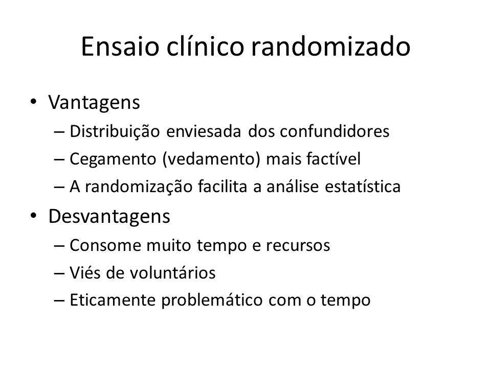 Ensaio clínico randomizado Vantagens – Distribuição enviesada dos confundidores – Cegamento (vedamento) mais factível – A randomização facilita a análise estatística Desvantagens – Consome muito tempo e recursos – Viés de voluntários – Eticamente problemático com o tempo