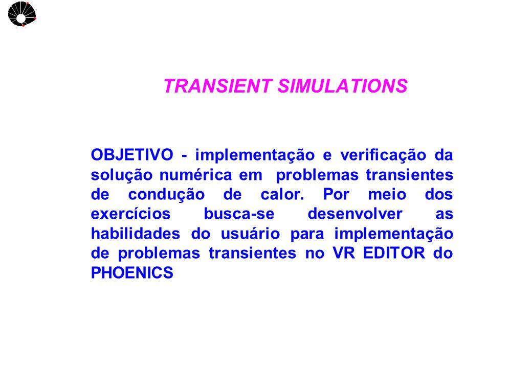 UNICAMP TRANSIENT SIMULATIONS OBJETIVO - implementação e verificação da solução numérica em problemas transientes de condução de calor. Por meio dos e