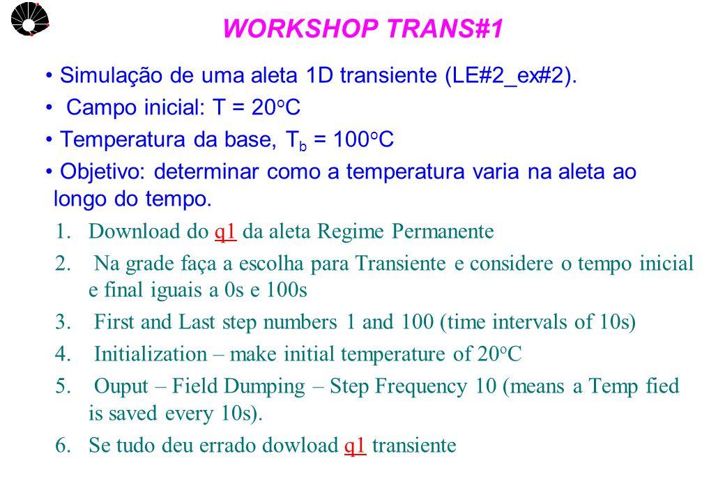 UNICAMP WORKSHOP TRANS#1 Simulação de uma aleta 1D transiente (LE#2_ex#2). Campo inicial: T = 20 o C Temperatura da base, T b = 100 o C Objetivo: dete
