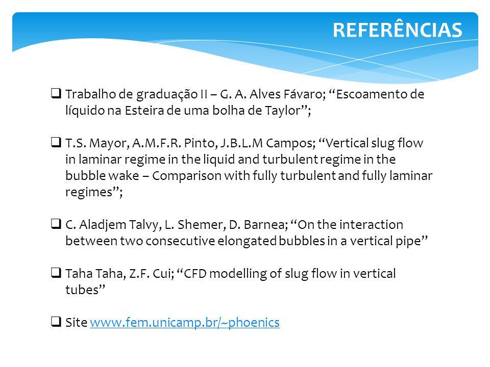 REFERÊNCIAS Trabalho de graduação II – G. A. Alves Fávaro; Escoamento de líquido na Esteira de uma bolha de Taylor; T.S. Mayor, A.M.F.R. Pinto, J.B.L.