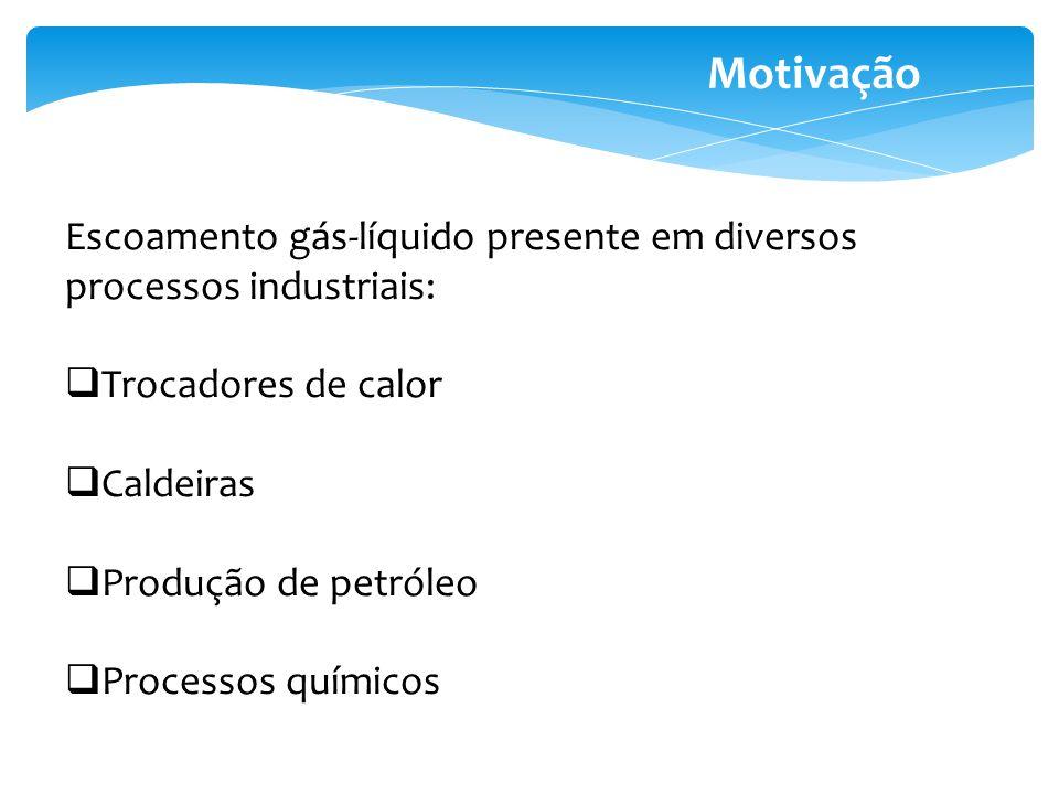 Motivação Escoamento gás-líquido presente em diversos processos industriais: Trocadores de calor Caldeiras Produção de petróleo Processos químicos
