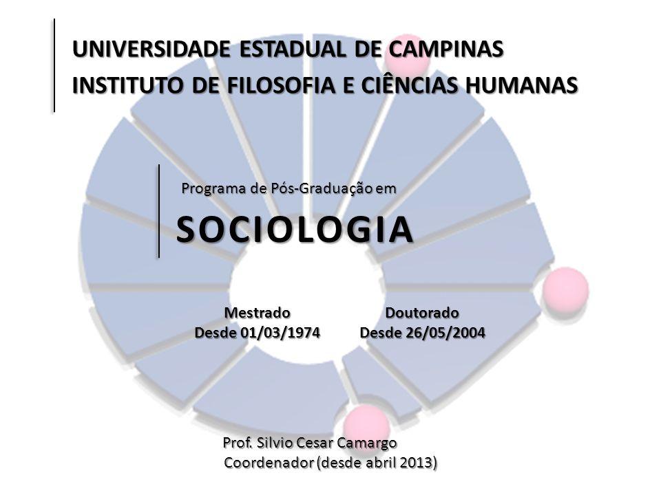 Programa de Pós-Graduação em SOCIOLOGIA Prof. Silvio Cesar Camargo Coordenador (desde abril 2013) UNIVERSIDADE ESTADUAL DE CAMPINAS INSTITUTO DE FILOS