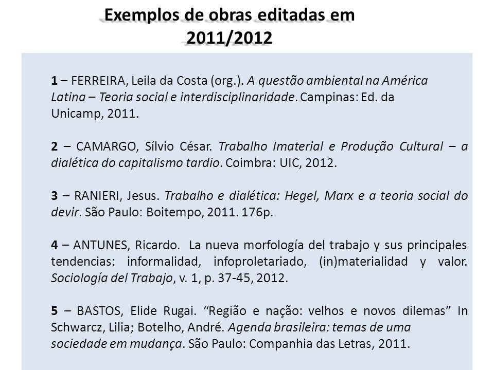 1 – FERREIRA, Leila da Costa (org.). A questão ambiental na América Latina – Teoria social e interdisciplinaridade. Campinas: Ed. da Unicamp, 2011. 2