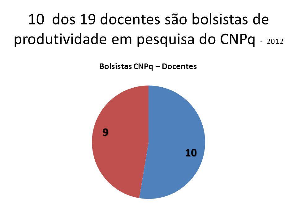 10 dos 19 docentes são bolsistas de produtividade em pesquisa do CNPq - 2012
