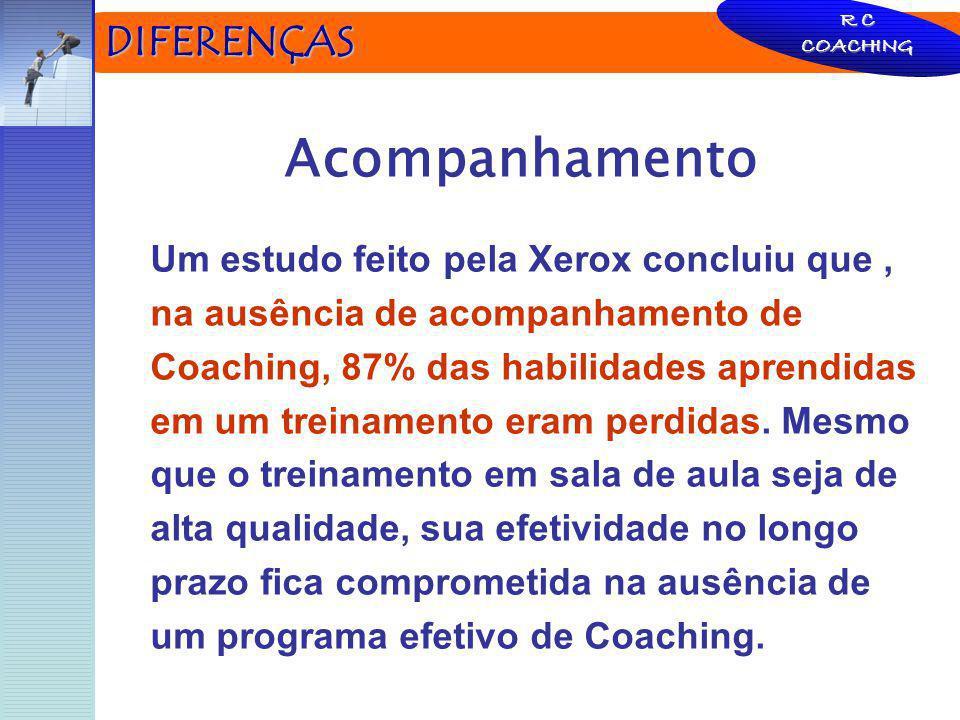 DIFERENÇAS Acompanhamento Um estudo feito pela Xerox concluiu que, na ausência de acompanhamento de Coaching, 87% das habilidades aprendidas em um tre