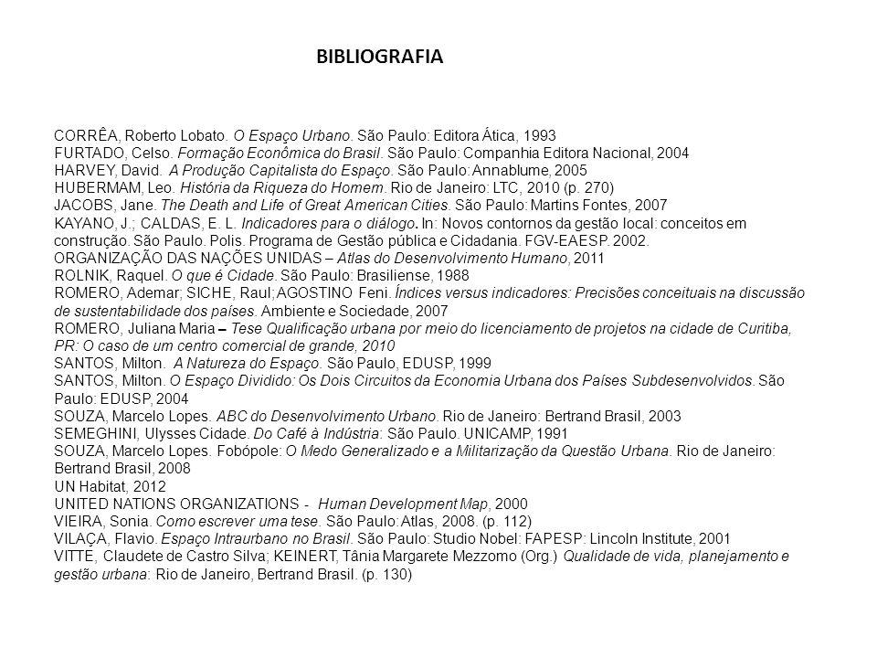 CORRÊA, Roberto Lobato. O Espaço Urbano. São Paulo: Editora Ática, 1993 FURTADO, Celso. Formação Econômica do Brasil. São Paulo: Companhia Editora Nac