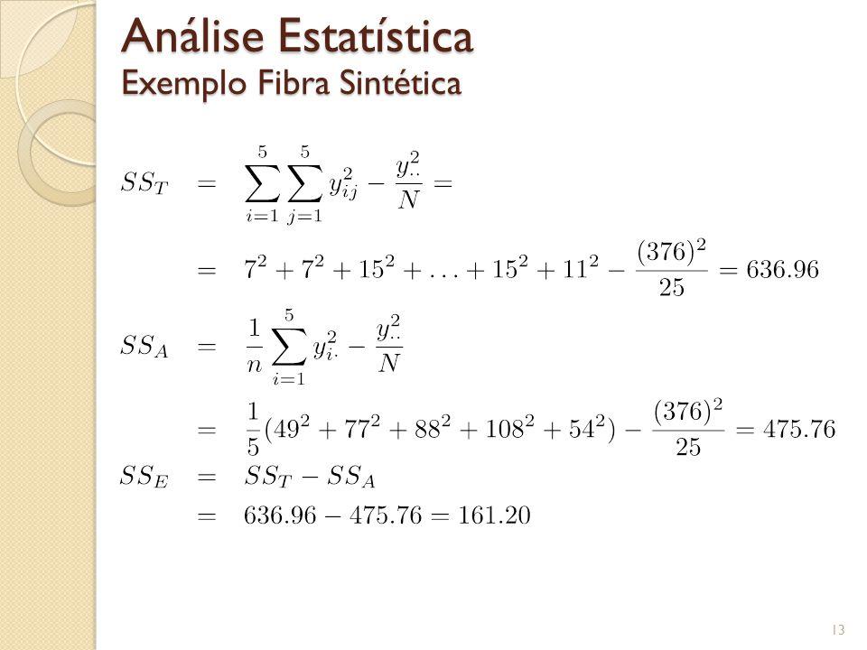 13 Análise Estatística Exemplo Fibra Sintética