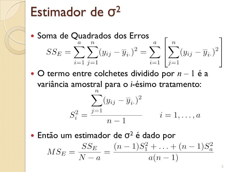 Tabela ANOVA Exemplo Fibra Sintética 14 No R, usando a função aov > dados <- read.table(DadosAlgodao.txt, header=TRUE) > fit <- aov(Obs ~ factor(Algodao), data=dados) > summary(fit) Df Sum Sq Mean Sq F value Pr(>F) factor(Algodao) 4 475.8 118.94 14.76 9.13e-06 *** Residuals 20 161.2 8.06 --- Signif.