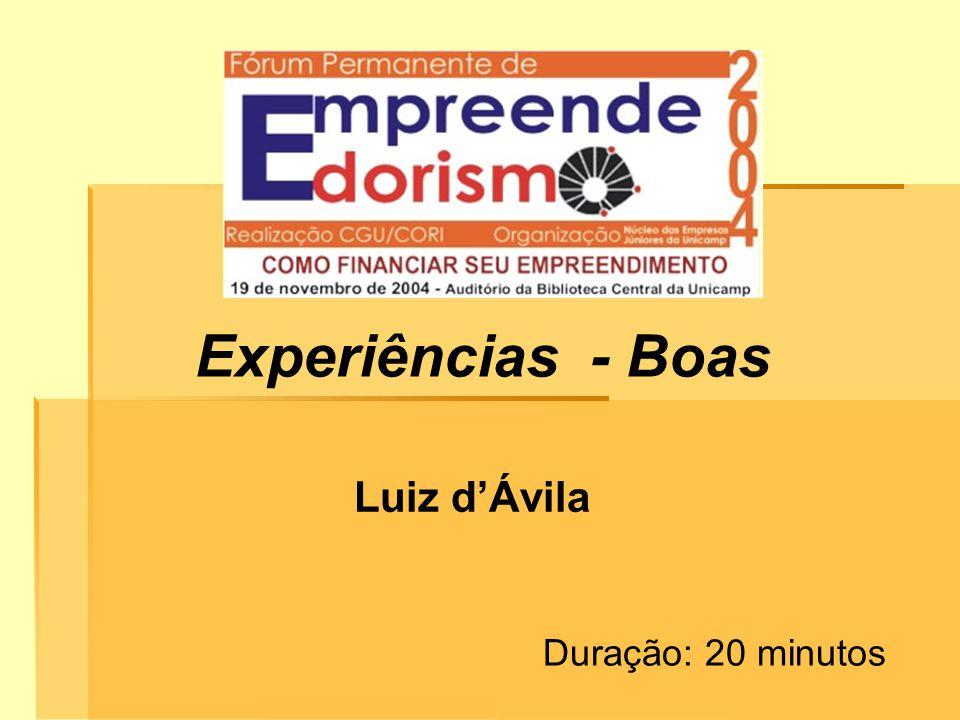 Experiências - Boas Luiz dÁvila Duração: 20 minutos
