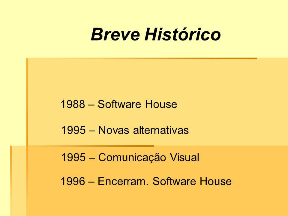 Breve Histórico 1988 – Software House 1995 – Comunicação Visual 1995 – Novas alternativas 1996 – Encerram.