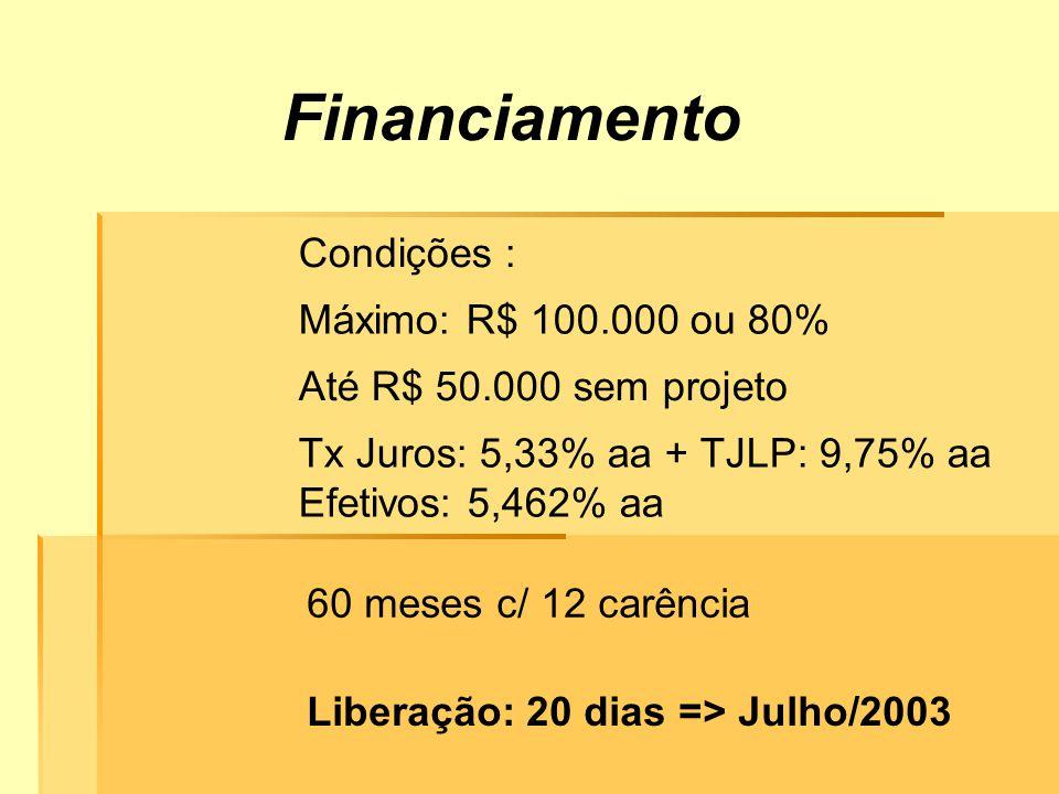 Financiamento Condições : Máximo: R$ 100.000 ou 80% Até R$ 50.000 sem projeto Liberação: 20 dias => Julho/2003 Tx Juros: 5,33% aa + TJLP: 9,75% aa Efetivos: 5,462% aa 60 meses c/ 12 carência