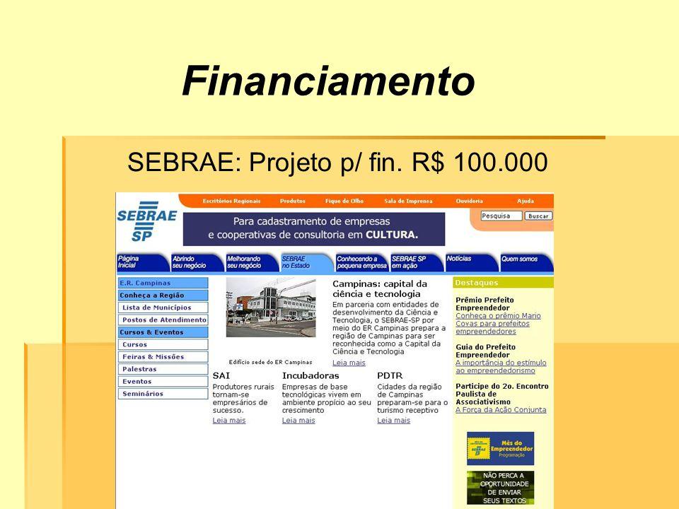 Financiamento SEBRAE: Projeto p/ fin. R$ 100.000
