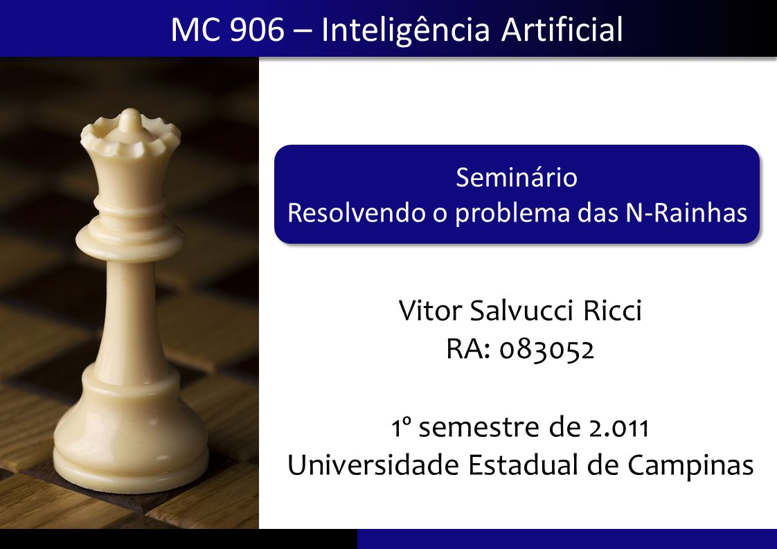 Seminário Resolvendo o problema das N-rainhas Resolvendo o problema das N-RainhasVitor Salvucci Ricci Soluções Equivalência entre soluções Apresentação do Problema Táticas para a resolução Software