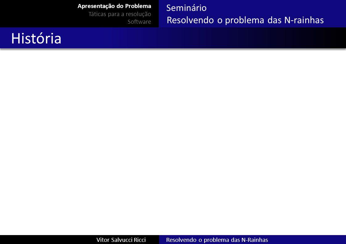 Seminário Resolvendo o problema das N-rainhas Resolvendo o problema das N-RainhasVitor Salvucci Ricci História Apresentação do Problema Táticas para a