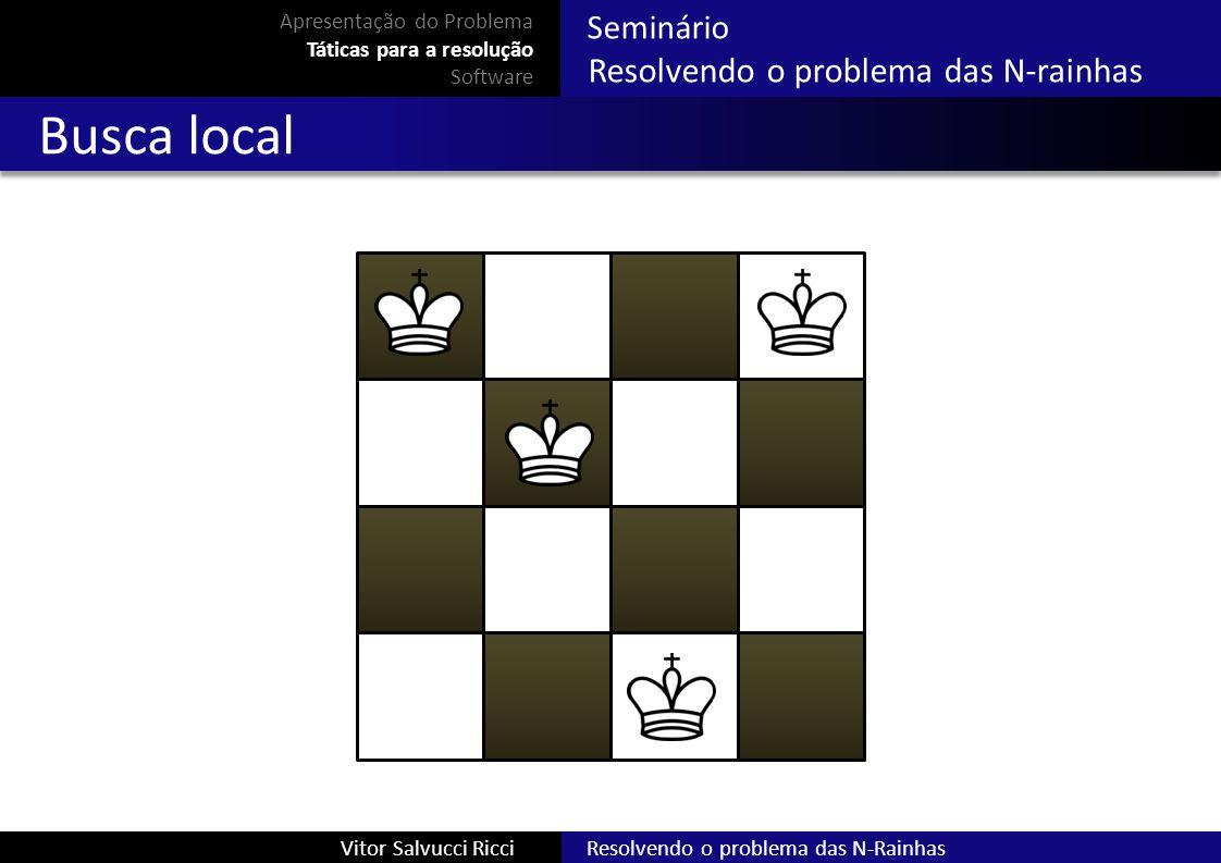 Resolvendo o problema das N-RainhasVitor Salvucci Ricci Seminário Resolvendo o problema das N-rainhas Busca local Apresentação do Problema Táticas par