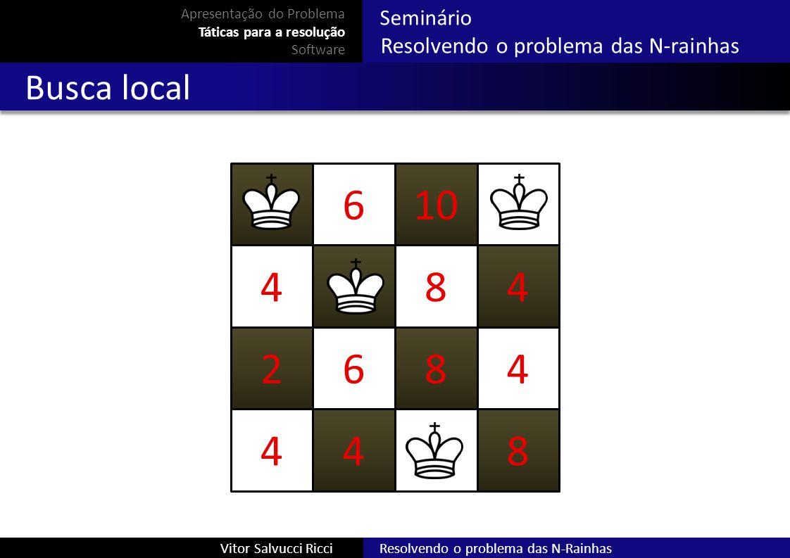 Resolvendo o problema das N-RainhasVitor Salvucci Ricci Seminário Resolvendo o problema das N-rainhas Busca local 610 484 2684 448 Apresentação do Pro