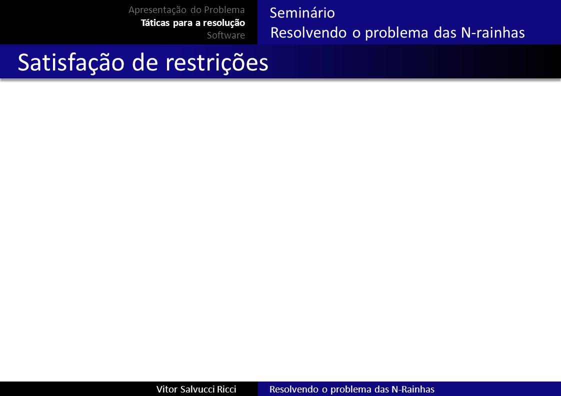 Resolvendo o problema das N-RainhasVitor Salvucci Ricci Seminário Resolvendo o problema das N-rainhas Satisfação de restrições Apresentação do Problem
