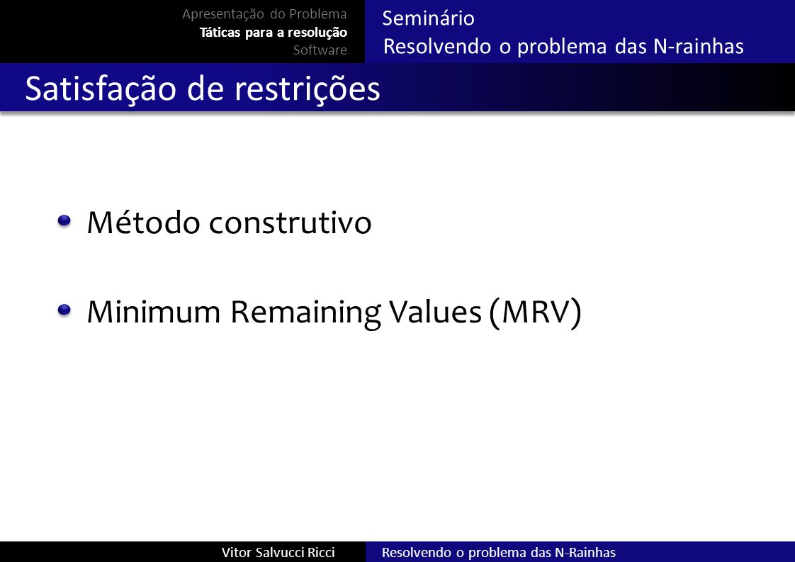 Resolvendo o problema das N-RainhasVitor Salvucci Ricci Seminário Resolvendo o problema das N-rainhas Satisfação de restrições Método construtivo Apre