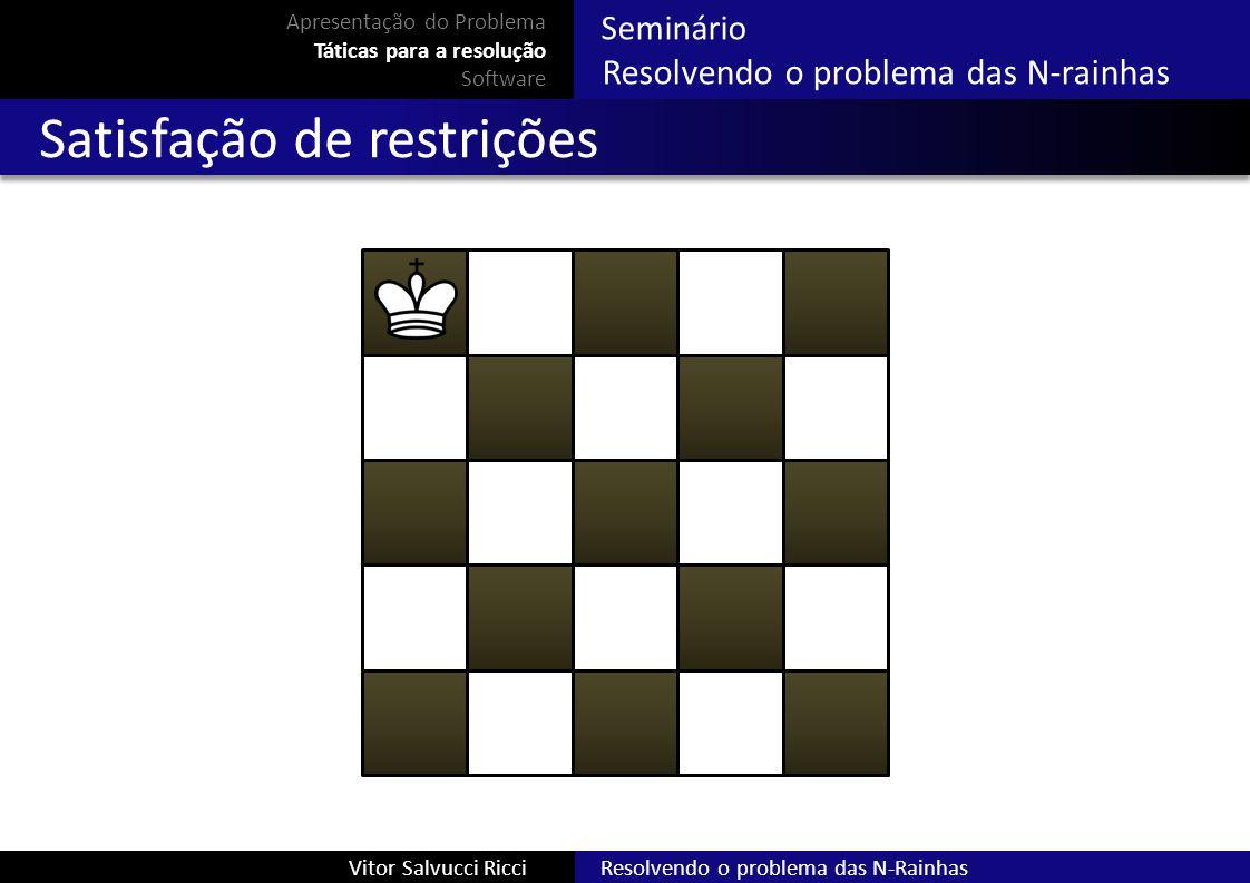 Resolvendo o problema das N-RainhasVitor Salvucci Ricci Seminário Resolvendo o problema das N-rainhas Apresentação do Problema Táticas para a resoluçã