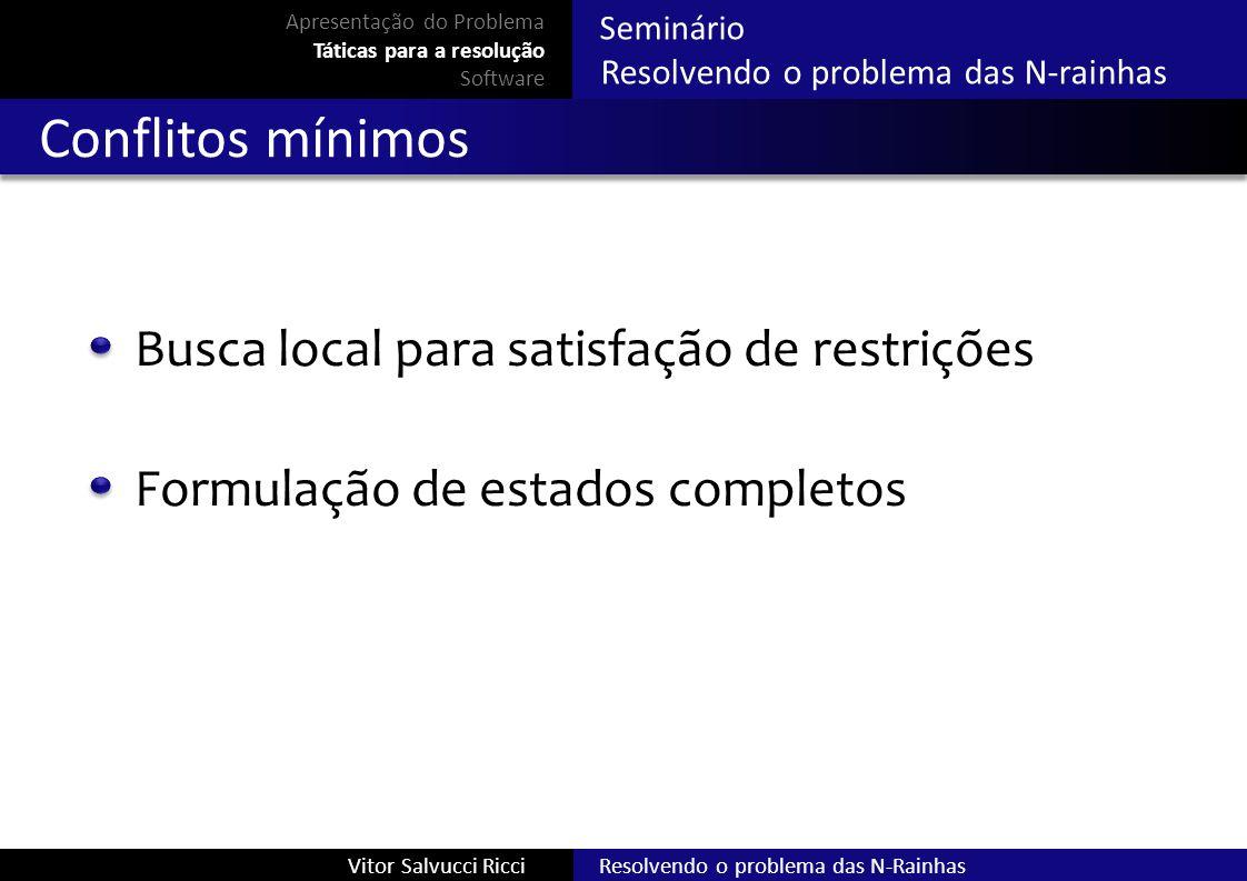 Resolvendo o problema das N-RainhasVitor Salvucci Ricci Seminário Resolvendo o problema das N-rainhas Conflitos mínimos Busca local para satisfação de