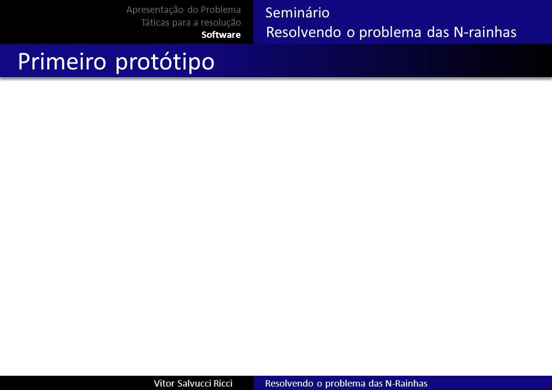 Resolvendo o problema das N-RainhasVitor Salvucci Ricci Seminário Resolvendo o problema das N-rainhas Primeiro protótipo Apresentação do Problema Táti