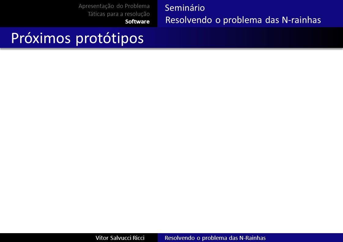 Resolvendo o problema das N-RainhasVitor Salvucci Ricci Seminário Resolvendo o problema das N-rainhas Próximos protótipos Apresentação do Problema Tát