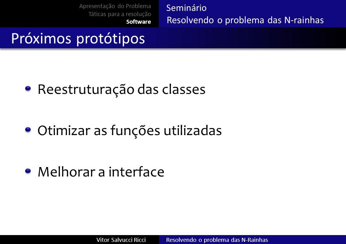 Resolvendo o problema das N-RainhasVitor Salvucci Ricci Seminário Resolvendo o problema das N-rainhas Próximos protótipos Reestruturação das classes A