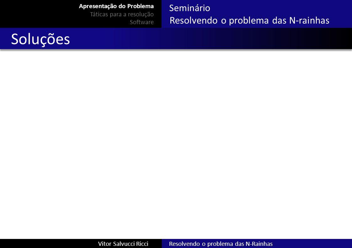 Seminário Resolvendo o problema das N-rainhas Resolvendo o problema das N-RainhasVitor Salvucci Ricci Soluções Apresentação do Problema Táticas para a