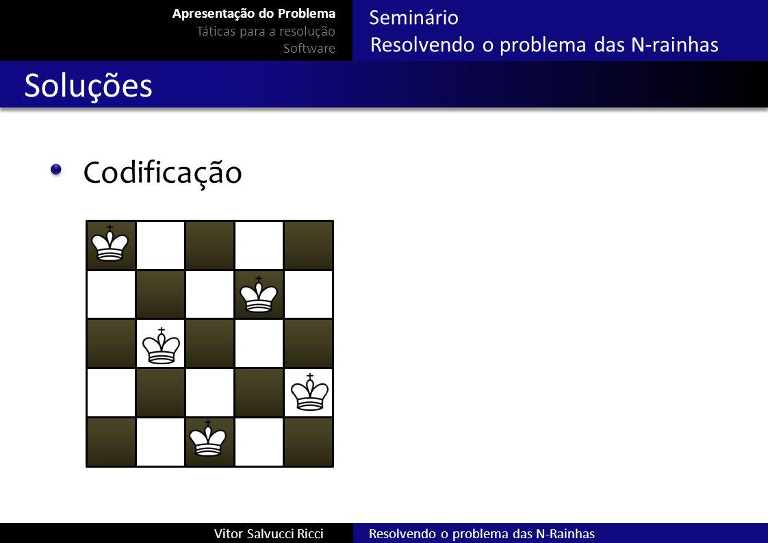 Seminário Resolvendo o problema das N-rainhas Resolvendo o problema das N-RainhasVitor Salvucci Ricci Soluções Codificação Apresentação do Problema Tá