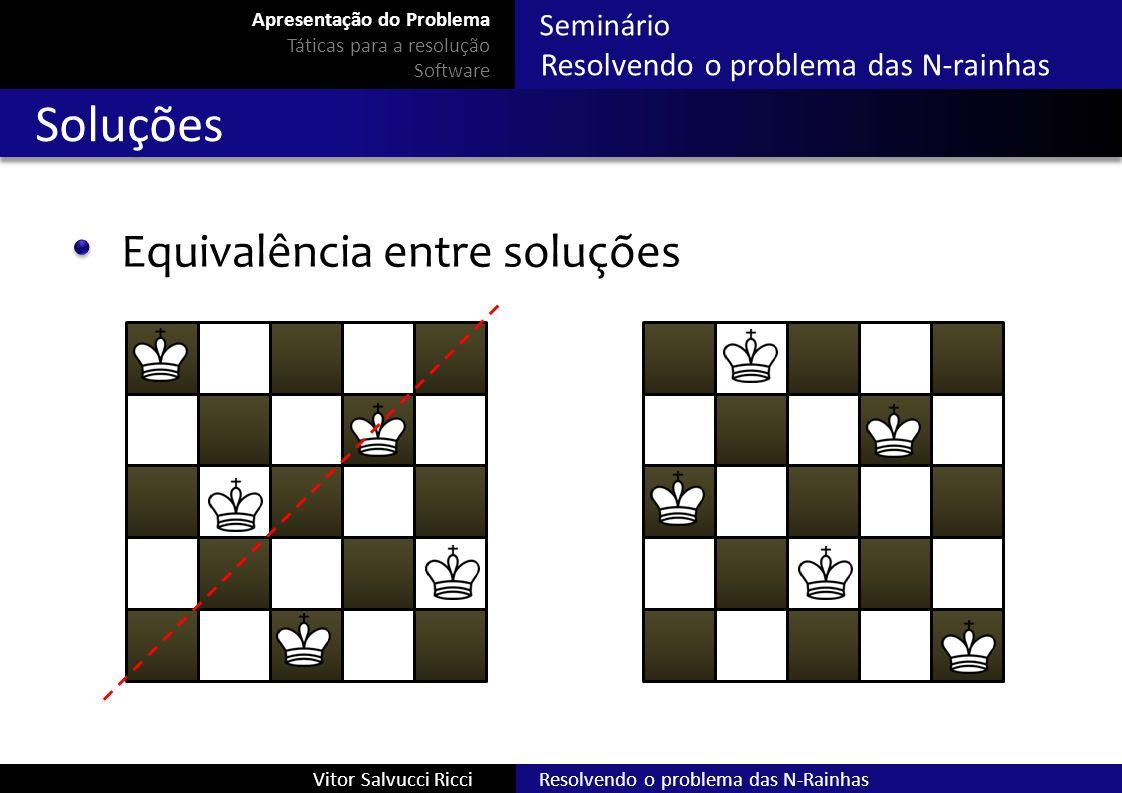 Seminário Resolvendo o problema das N-rainhas Resolvendo o problema das N-RainhasVitor Salvucci Ricci Soluções Equivalência entre soluções Apresentaçã