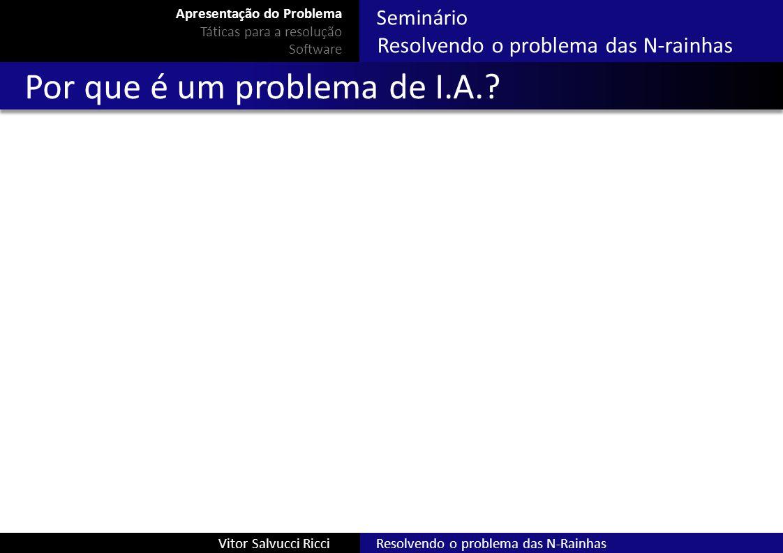 Seminário Resolvendo o problema das N-rainhas Resolvendo o problema das N-RainhasVitor Salvucci Ricci Por que é um problema de I.A.? Apresentação do P