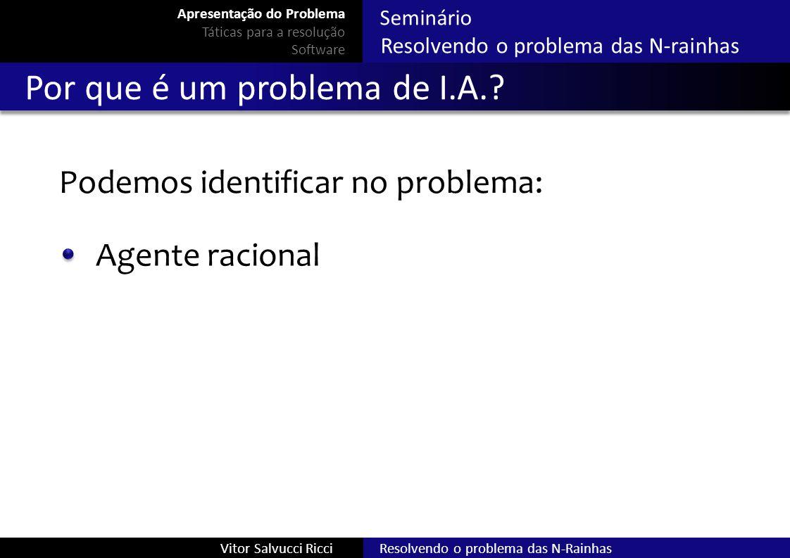 Seminário Resolvendo o problema das N-rainhas Resolvendo o problema das N-RainhasVitor Salvucci Ricci Por que é um problema de I.A.? Podemos identific