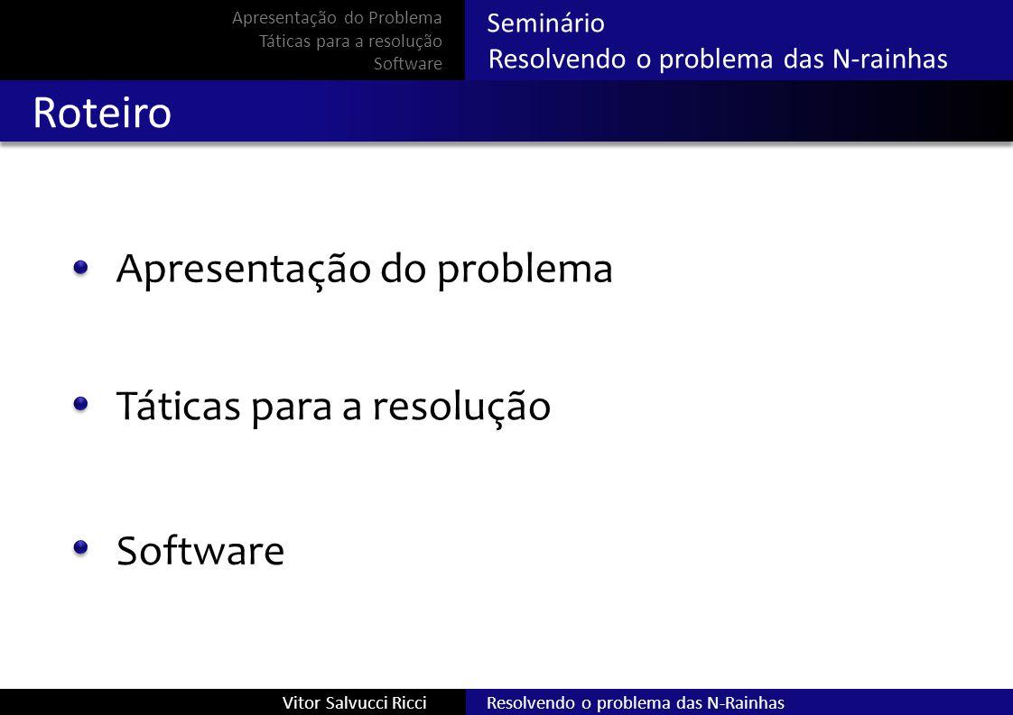 Resolvendo o problema das N-RainhasVitor Salvucci Ricci Seminário Resolvendo o problema das N-rainhas Táticas escolhidas Força bruta Busca local Satisfação de restrições Apresentação do Problema Táticas para a resolução Software