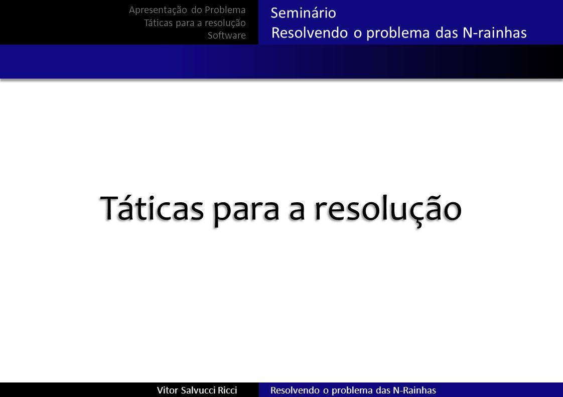 Seminário Resolvendo o problema das N-rainhas Resolvendo o problema das N-RainhasVitor Salvucci Ricci Apresentação do Problema Táticas para a resoluçã