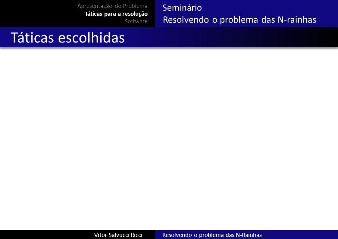 Resolvendo o problema das N-RainhasVitor Salvucci Ricci Seminário Resolvendo o problema das N-rainhas Táticas escolhidas Apresentação do Problema Táti