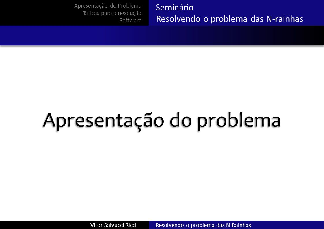 Seminário Resolvendo o problema das N-rainhas Resolvendo o problema das N-RainhasVitor Salvucci Ricci Características Quebra - cabeça Não há adversários Problemas semelhantes Apresentação do Problema Táticas para a resolução Software
