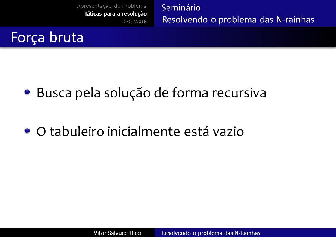 Resolvendo o problema das N-RainhasVitor Salvucci Ricci Seminário Resolvendo o problema das N-rainhas Força bruta Busca pela solução de forma recursiv