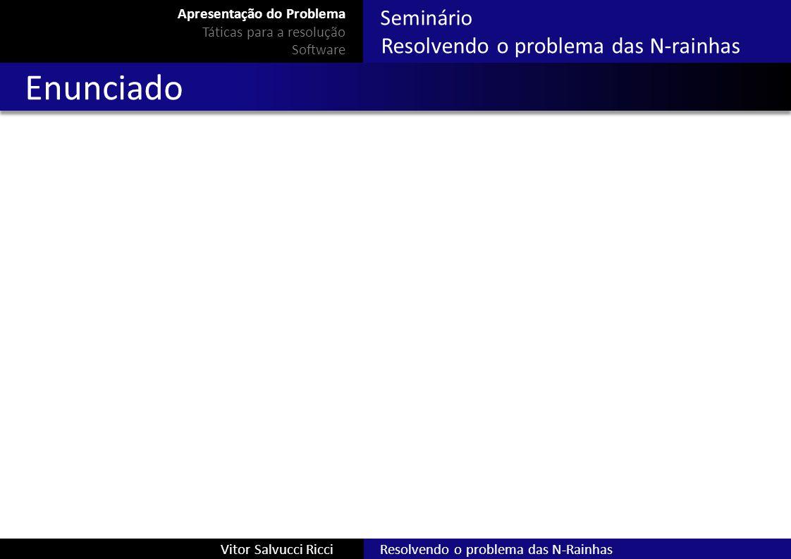 Resolvendo o problema das N-RainhasVitor Salvucci Ricci Seminário Resolvendo o problema das N-rainhas Busca local Função de custo da heurística (h) : número de ataques entre rainhas no tabuleiro Objetivo: atingir um estado X tal que h(X) = 0 Apresentação do Problema Táticas para a resolução Software