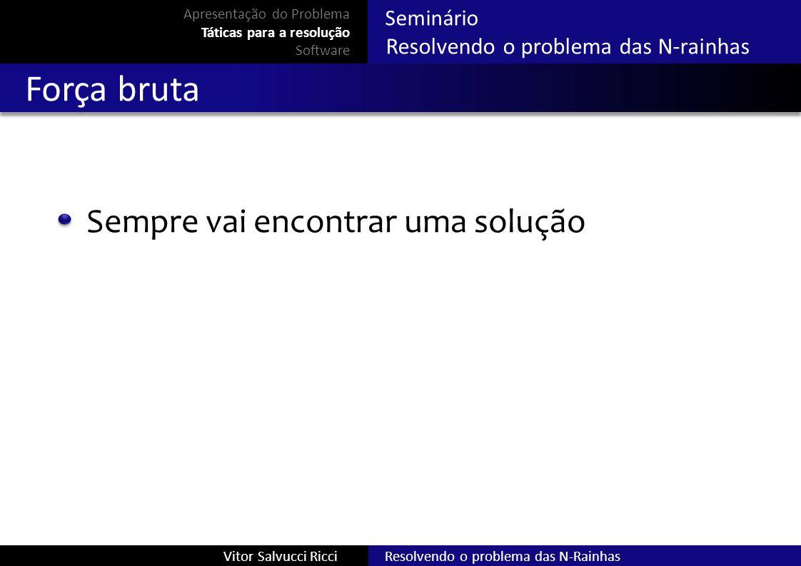 Resolvendo o problema das N-RainhasVitor Salvucci Ricci Seminário Resolvendo o problema das N-rainhas Força bruta Sempre vai encontrar uma solução Apr