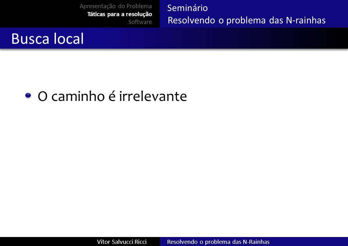 Resolvendo o problema das N-RainhasVitor Salvucci Ricci Seminário Resolvendo o problema das N-rainhas Busca local O caminho é irrelevante Apresentação