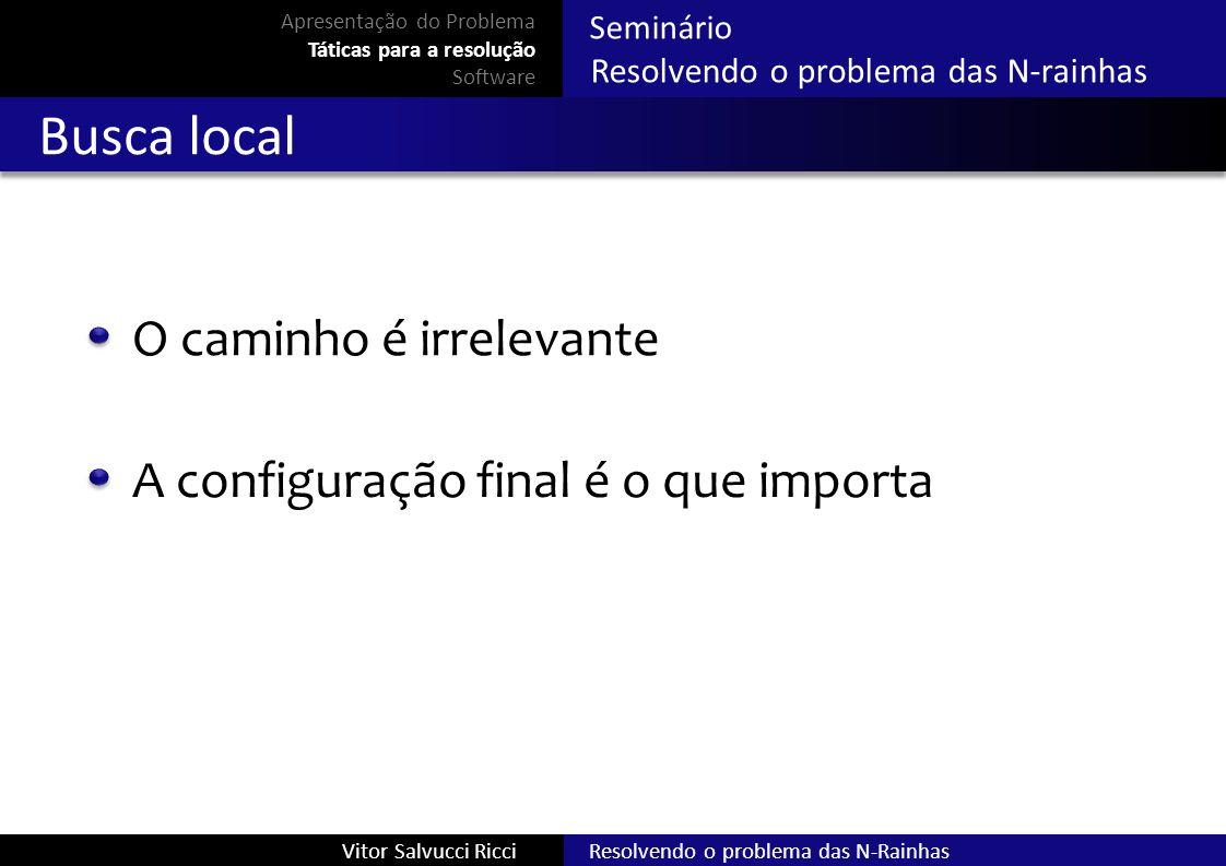 Resolvendo o problema das N-RainhasVitor Salvucci Ricci Seminário Resolvendo o problema das N-rainhas Busca local O caminho é irrelevante A configuraç