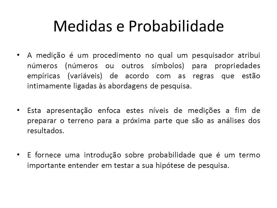 Medidas e Probabilidade A medição é um procedimento no qual um pesquisador atribui números (números ou outros símbolos) para propriedades empíricas (variáveis) de acordo com as regras que estão intimamente ligadas às abordagens de pesquisa.