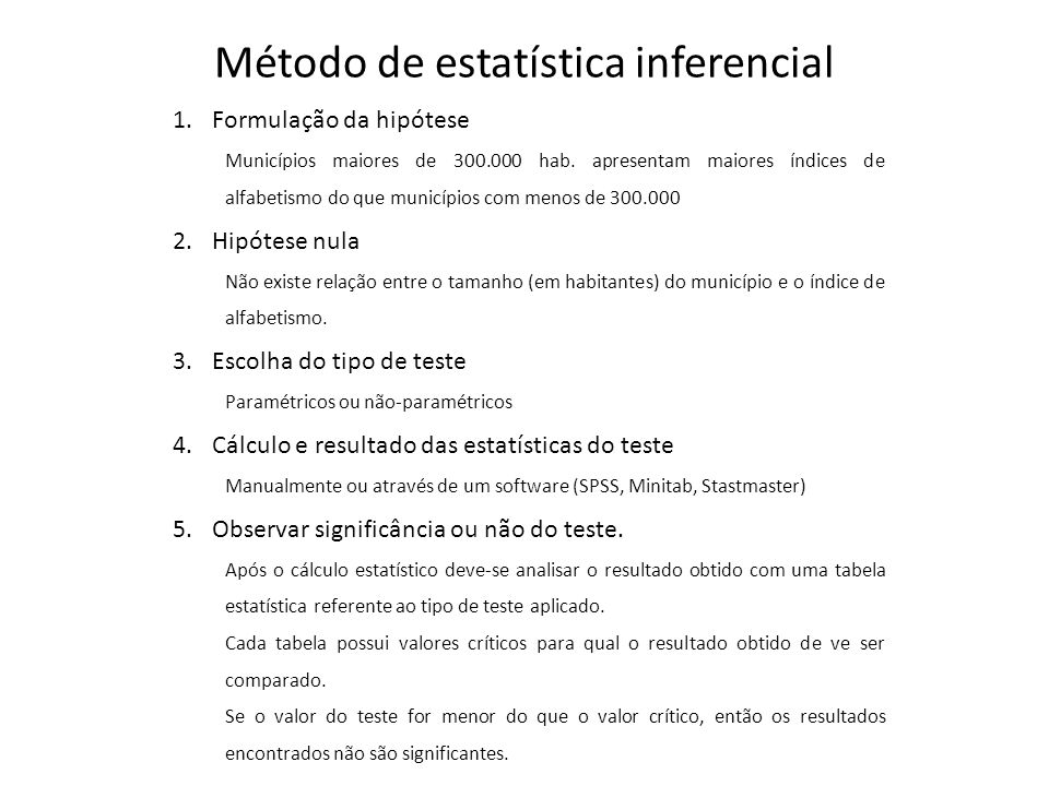 Método de estatística inferencial 1.Formulação da hipótese Municípios maiores de 300.000 hab.