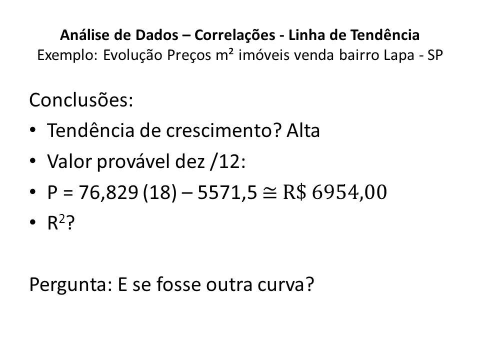 Análise de Dados – Correlações - Linha de Tendência Exemplo: Evolução Preços m² imóveis venda bairro Lapa - SP Conclusões: Tendência de crescimento.