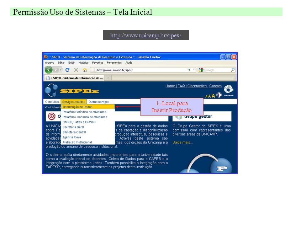 Permissão Uso de Sistemas – Tela Inicial 1.