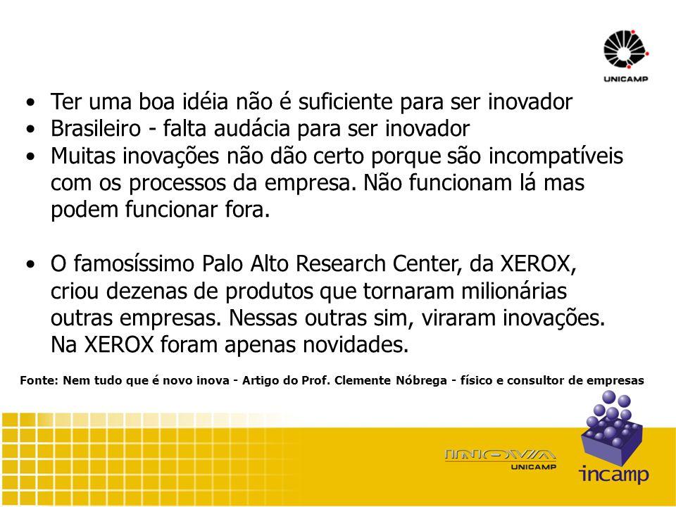 Ter uma boa idéia não é suficiente para ser inovador Brasileiro - falta audácia para ser inovador Muitas inovações não dão certo porque são incompatíveis com os processos da empresa.
