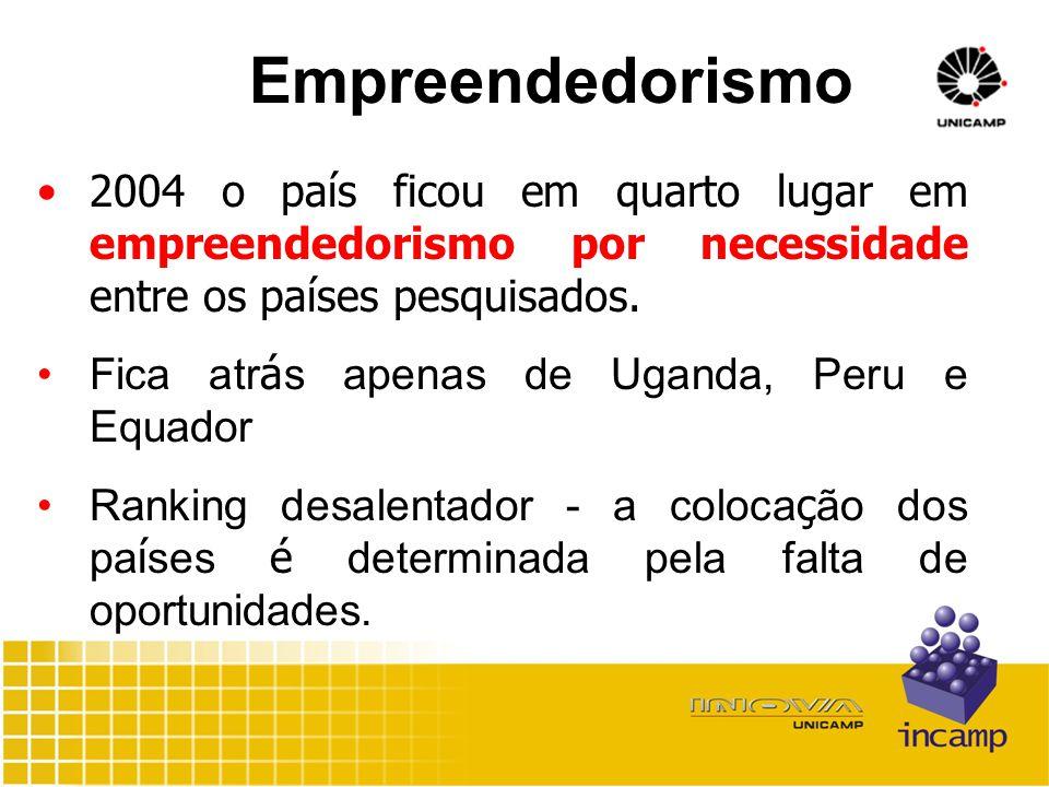 Empreendedorismo 2004 o país ficou em quarto lugar em empreendedorismo por necessidade entre os países pesquisados.